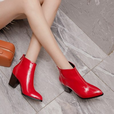 Women Ankle Boots Patent Leather High Heel Fashion Boots 2020 Pointed Toe Zipper Spring Autumn Ladies Shoes Black Beige Red 2021