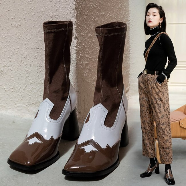 Western Punk Autumn Winter strange High Heel Black Leather Square Toe Mature Shoes Women 2020 Ankle Cowboy Boots For Women 34-39