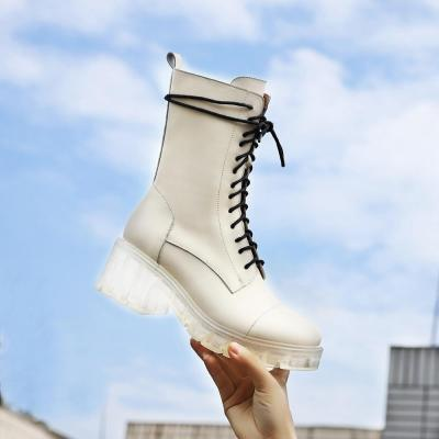 Size35-41 Chunky Motorcycle Boots For Women Autumn 2020 Fashion Round Toe Lace-up Combat Boots Ladies Shoes