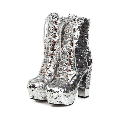 Autumn Winter Ankle Boots For Women Sexy Motorcycle Boots Chunky High Heels Platform Luxury Short Boots Sequined Ankle Boots 43