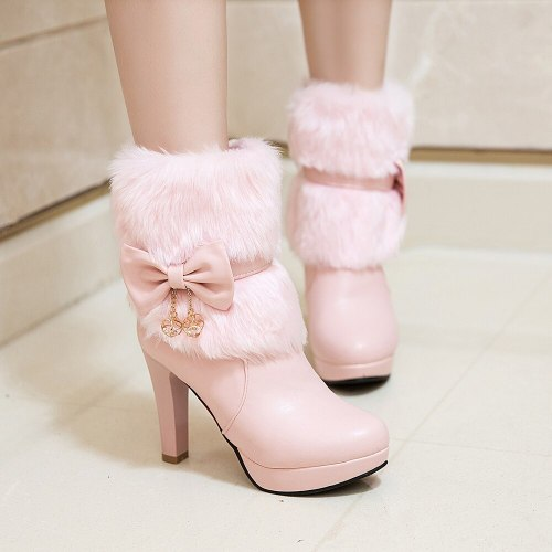 Women Boots Autumn Winter Warm Fur 2020 New Sexy Fashion Pu Ankle Boots Motorcycle Snow Boots Black Pink White High-heeled Shoes