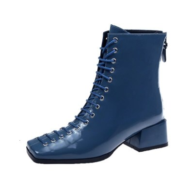 Concise lace up Women's Ankle Boots Winter 2020 Women Fashion Square Toe High Heels motorcycle boots Shoes Woman 35 36 37 38 39