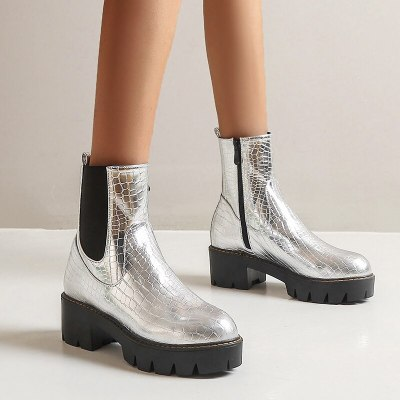 Black Silver Yellow Fashion Women Boots Thick-soled High Heels Ankle Boots Autumn Winter Zipper Motorcycle women's Shoes 2020