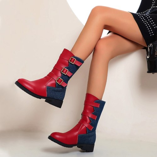 2020 New Buckle Winter Motorcycle Boots Women British Style Ankle Boots Gothic Punk Low Heel ankle Boot Women Shoe Plus Size 43