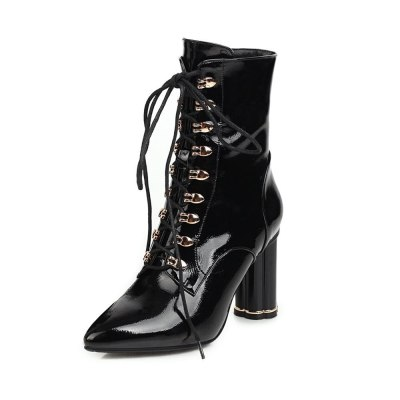 2020 Sequins PU Leather Fashion Transparent Square Heel Ankle Boots Autumn Winter Pointed Toe Zipper Women Shoes Size 34-43