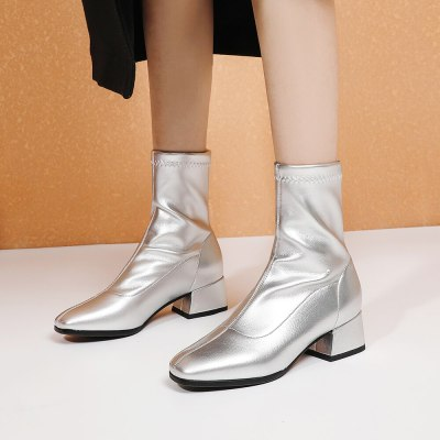2020 Women Boots Autumn New Black White Ankle Boots Fashion Square Toe Ankle Boots Comfortable Low Heel Ladies Shoes boots Beige