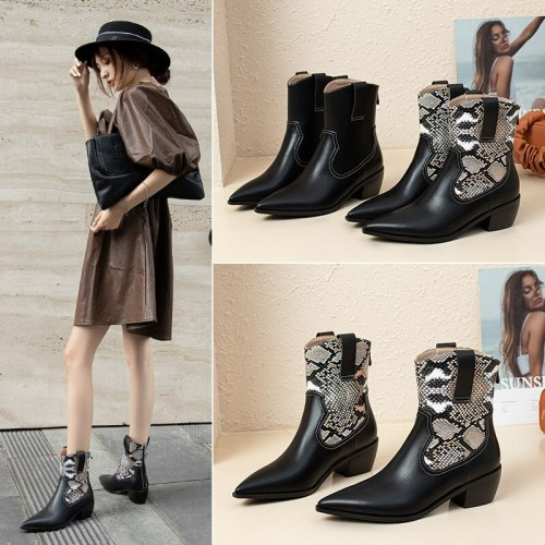 Boots Women Pointed Toe Ankle Boots for Women Short Plush Winter Shoes Women Botas Mujer 35-40