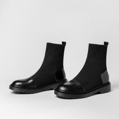 Autumn Winter Ankle Boots Women shoes Water-proof Flat Short Boots Platform socks Boots fashion Women's Shoes Black Large Size 9