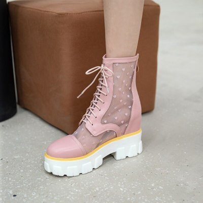 Mesh casual women's boots High Quality Women Boots summer Casual Brand Shoes Openwork boots Breathable mesh Fashion Boots Shoes