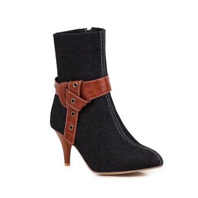 Elegant Fashion Ladies Ankle Boots Female Vintage Belt Buckle Spring Autumn Women Shoes Footwear Pointed Toe Women Denim Boots