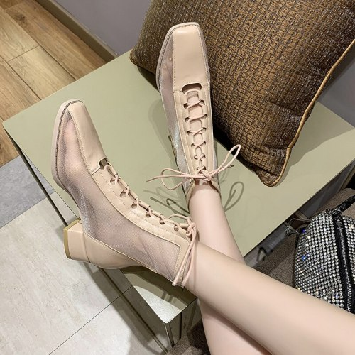 2020 New summer boots women Ankle Botas Breathable Mesh Ladies Booties Spring and Autumn Round Head Women's Boots Black 35-39