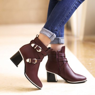 Large Size Pointed Toe Square Heel For Women Boots Fashion Buckle Ankle Boots Women Shoes Zipper Cheap High Heel Boots Woman 39