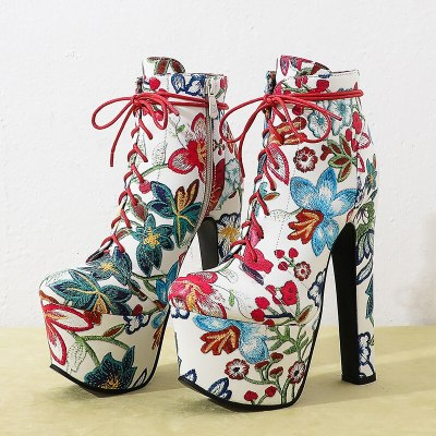 Fashion Flower Ankle Boots Women Shoes Platform Ultra High Heels Short Boots Lace-up Boots Winter Ladies Shoes Large size 45 46