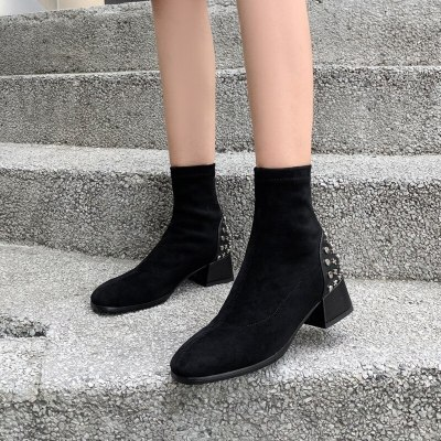 Quality Suede Leather Ankle Boots For Women Comfy Low Heels Black Sock Boots Women's Shoes Autumn Slim Short Boots Shoes Woman