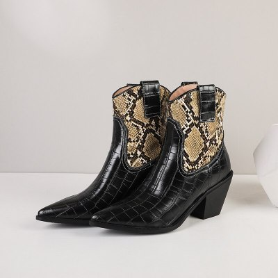 Black Sexy Cowboy Ankle Boots Women Shoes Fashion Snake Short Boots Women Pointed Heel Boots Autumn Large Size 41 Сапоги женские