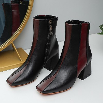 2020 Autumn new color matching women's boots square toe thick-soled high-heeled fashion boots elegant and versatile women's shoe