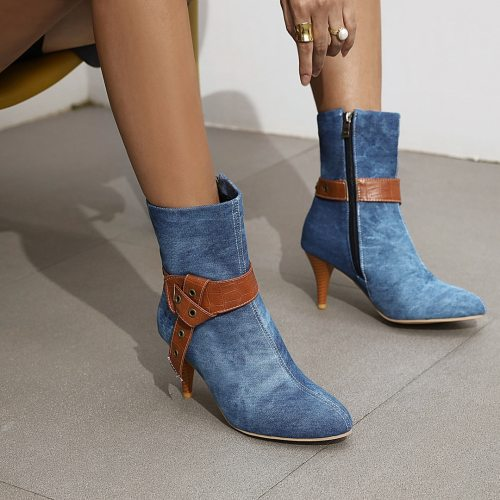 Elegant Fashion Ladies Ankle Boots Female Vintage Belt Buckle Spring Autumn Women Shoes Footwear Pointed Toe Women Denim Boots