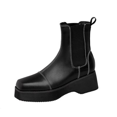 2021 Round Toe Platform Womens Boots Luxury Brand High Top Winter Fleece Warm Shoes Anti-skid Woman Chelsea Booties Botas