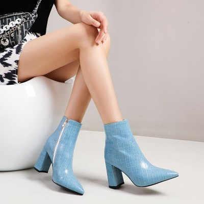 2021 Pointed Toe Sexy High Heels Woman Autumn Winter Fashion Ankle Boots Patent leather Slip on Women Shoes Size 34-43