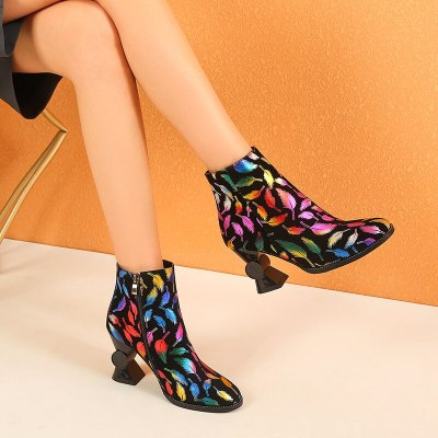 2020 European and American style colorful graffiti High heel short boots warm round head women's boots cotton shoes 34-43