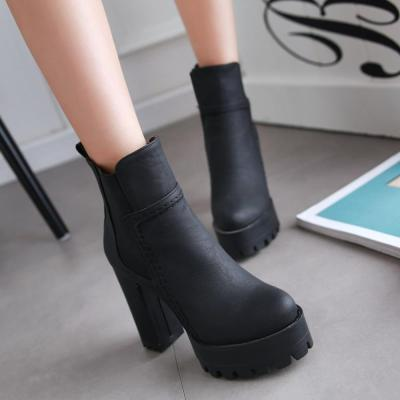 2020 Sexy Ankle Boots Women Fashion Extreme High Heels Platform Boots Ladies Shoes PU Leather Black Women Boots 36 37 38 39 40