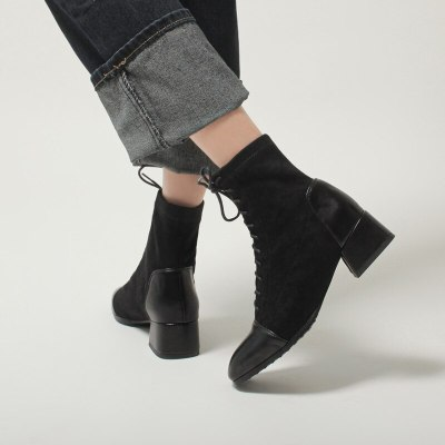 2020 Women Ankle Boots Elegant Office Lady Autumn Winter Shoes Woman Cross-Tied Thick Heels Zip Boots