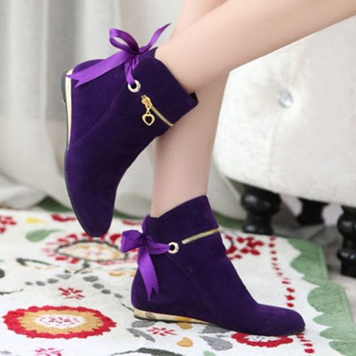 Sweet Bow Ankle Boots Women Faux Suede Boots Short Boots Fashion round toe solid ankle boots Woman Plus Size 35-43