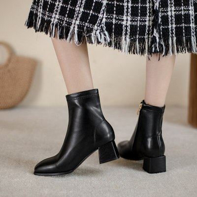 Ankle Boots Zapatos De Mujer Woman Shoes High Heels Sexy  Women Shoes 2020 Boots Women Leather Boots Women PU  Square heel 34-43