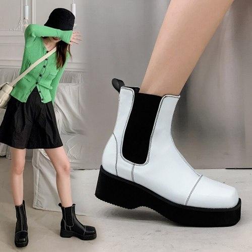 2021 Round Toe Platform Womens Boots Luxury Brand High Top Winter Fleece Warm Shoes Anti-skid Woman Chelsea Booties Botas