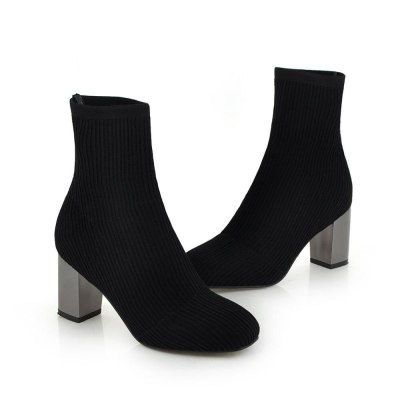 2020 Spring Fashion Women Boots Beige Pointed Toe Yarn Elastic Ankle Boots Thick Heels Shoes Autumn Winter Female Socks Boots