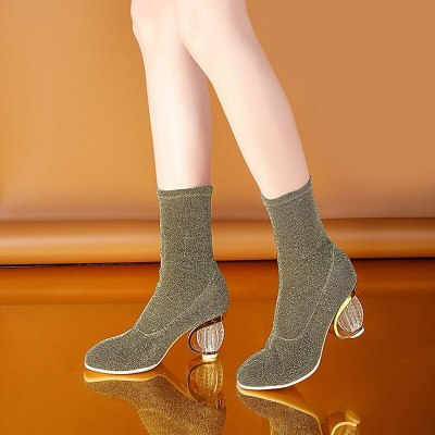Autumn New Fashion Ankle Boots Women Boots Female Crystal heel women's boots Botas Mujer 2020 spring Round head sexy girl boots