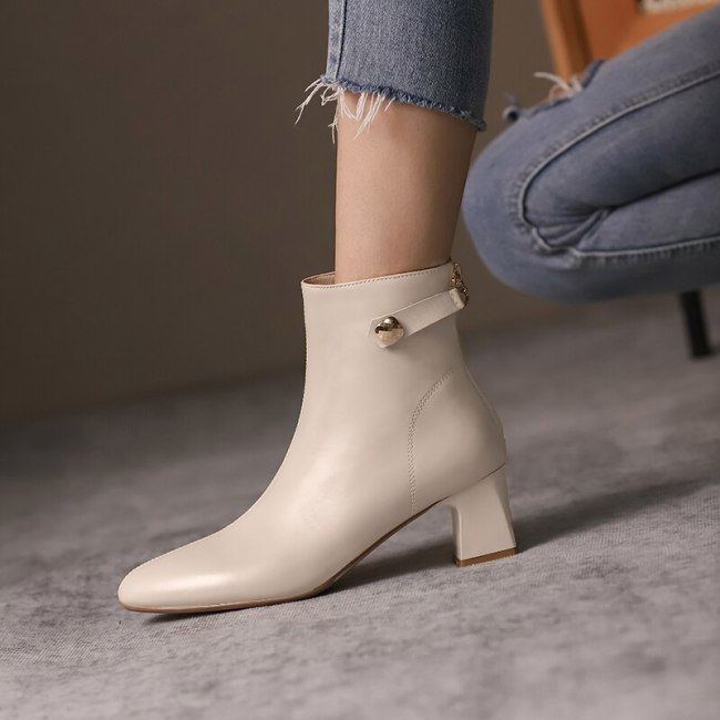 Boots Women Round Toe Ankle Boots for Women Short Plush Winter Shoes Women Botas Mujer