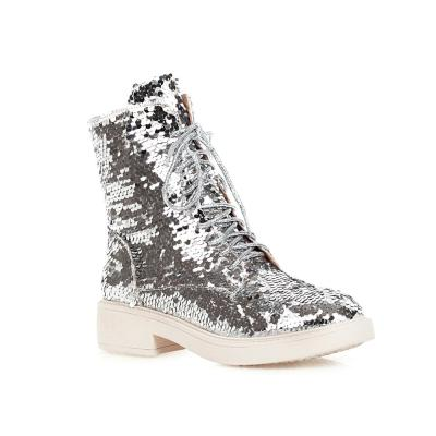 Women's Boots Autumn And Winter New Round head zipper Discoloration Sequin Short tube Women's shoes plus size 33-43