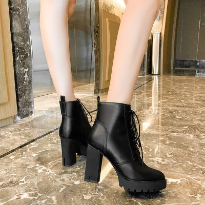 Platform high heel lace up women's boots Big Size 34-41 Female Autumn Boots Platform Thick High Heels Lace Up Zip Women Boots 39