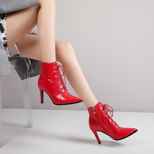 43 Sexy Cowboy Ankle Boots Women Shoes Fashion Red Short Boots Women Lace Up Pointed Heel Boots Autumn Large Size 38 39 40 41 42