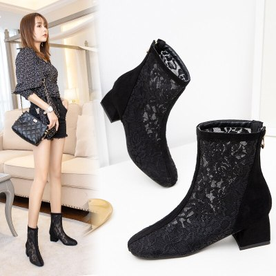 2020 new ankle boots women round toe zip square heels mesh Hollowing out simple ladies prom summer shoes women boots 34-43