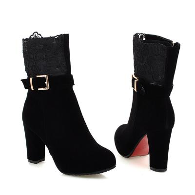 Fashion Winter Lace Pure Color High-Heeled Women Ankle Boots Party Shoes women Platform Keep Warm genuine leather Snow boots