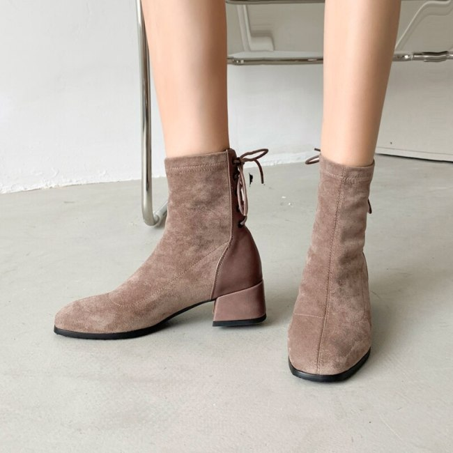New Women Shoes High Heels Slip ankle boots winter Stretch socks boots elegant Square high heels shoes female Plus size 32- 43