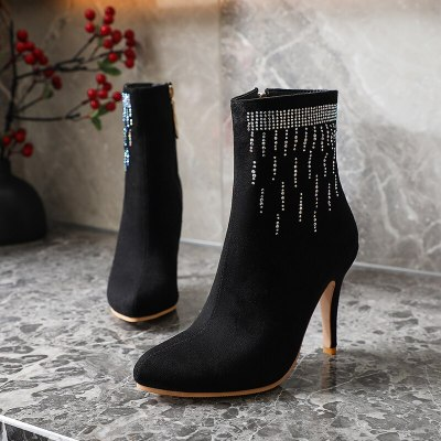 New Women Ankle Boots Women Pointed Toe High Heels Boots Sexy Stiletto Pumps Black Red Pink Bootie Woman Shoes 32 33 37 38 41 42