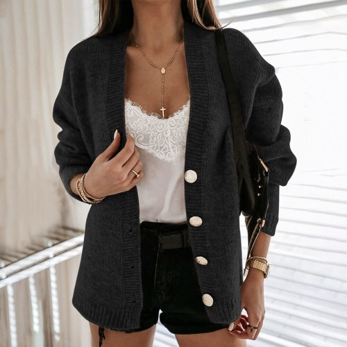 2020 Autumn Winter Women Sweater Cardigans Oversize V Neck Long Sleeve Casual Short Basic Knit Cardigans Girls Outwear Solid Top