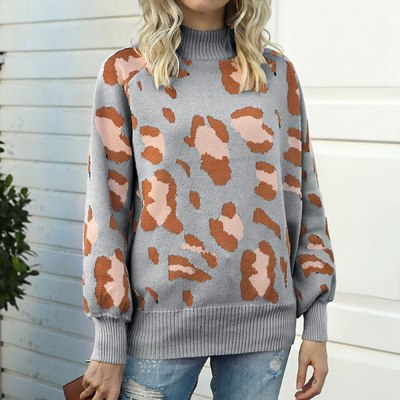 Woman Sweaters Leopard Print Knitted Sweaters Autumn Winter Turtleneck Lantern Sleeve Sweater Lady Casual Loose Pullover Jumper