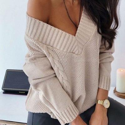 Women Sexy Deep V-neck Sweater Off Shoulder Oversized Knitted Sweater Women Pullover Knitwear Autumn Winter Lady Jumper Sweater