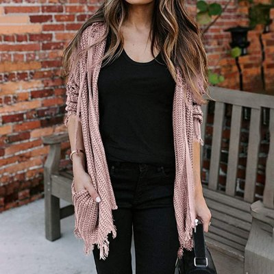 Chic Hooded Sweater Women Zipper Cardigan Ripped Sweater Fashion Long Sleeve Cadigans Spring Autumn Knit Outwear Coat