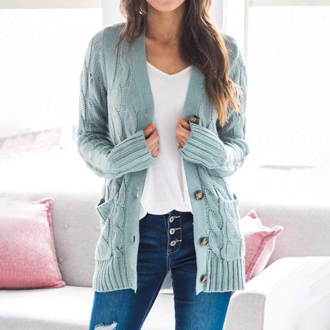 Women Sweater 2020 New Autumn/ Winter Fashion Women Cardigans Long Sleeve Button Sweater Women Casual Solid Single Knit Cardigan