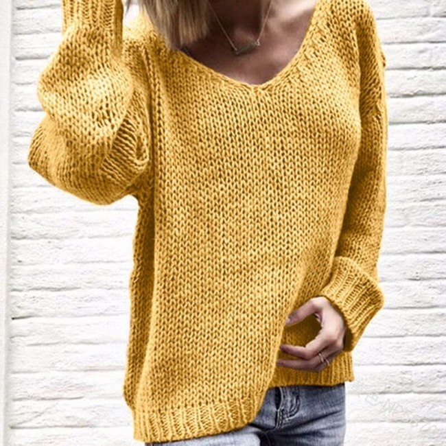 2020 V Neck Solid Women Sweaters Pullovers Loose Knitted Autumn Winter Clothing Casual Pullovers Plus Size Pull Dropshipping