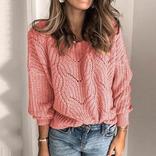 Women Elegant Solid Color Sweaters Jumper Casual Long Sleeve Knitted Sweater Tops 2020 Autumn Winter V-Neck Hollow Out Sweater