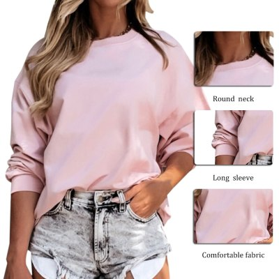 Women Solid Simple Casual Sweatshirt New Long Sleeve O-neck Plus Size Hoodies Tops Female Autumn Winter Streetwear Clothes