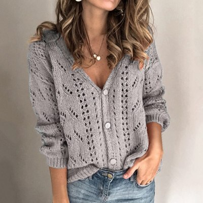 Women Sweater Hollow Out свитер женски Low V-Neck Knitwear Tops Button Up Knitted Cardigan Long Sleeve Sexy Tricot Sweater Coats