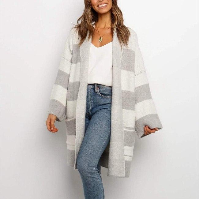 Striped Long Cardigan Women Pockets Autumn Korean Style Sweater Casual Loose Vintage Knit Coat Oversized Sweater Jacket Dropship