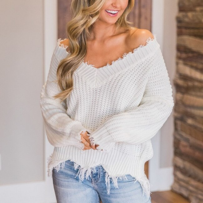 Off The Shoulder V-neck Autumn Sweater For Women Fringe Knitted Jumper Female Tops Long Sleeve Pullover Knitwear